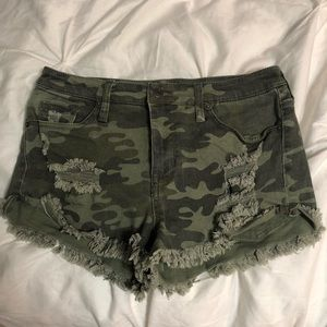 Mossimo Distressed High Rise Camo Shorts